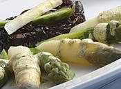 Asperges blanches vertes noir crème pesto coriandre