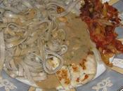 Filets cabillaud bois plancha, pâtes l'huile d'olive compotée d'oignons tomates