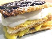 Mille-feuilles mangue vanillée, crème glacée noix coco, citron sauce chocolat
