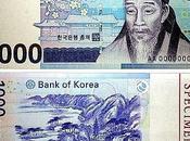 billets banque coréens.