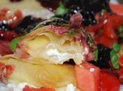 Nems fêta confiture cerises noires, pastèque tomates