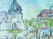 Eglise Saint-Vincent dessin aquarelllé
