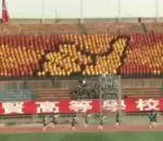 écran géant humain dans tribunes d'un stade foot