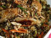 Salade lentilles boulghour d'épeautre maquereau fumé poivre