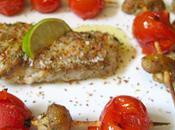Filet Cabillaud Sumac Brochettes Légumes Plancha