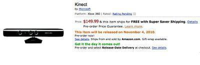 prix Kinect dévoilé 149$