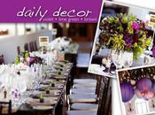 Décoration table violette verte