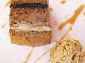 terrine pain d'épice chocolat, myrtilles crème café glace végétale caramel