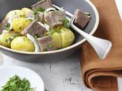Salade langue bœuf, pommes terre grenailles, sauce César