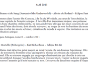 planning sorties d'avril Editions Eclipse