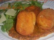 Croquettes tomate basilic avec mozzarella vinaigrette pesto roquette