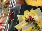 Ravioli canard confit, courge musquée confiture canneberge, sauce foie gras