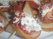 amuses-bouche poire, roquefort jambon italien
