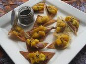 Tapas magret canard mangue chips raviolis chinois noir d'Hawaï