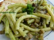 Macaroni aubergines pesto d'ail ours