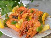 Brochettes Gambas marinées poivron citron