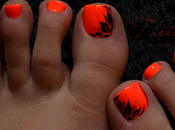 Nail PIEDS feuillage fluo