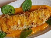 Sole doublement tropicale kadaïf, coulis mangue yuzu, jeunes pousses