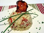 Risotto poivron-chorizo-calamar chips chorizo