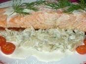 Pavé saumon sauce l'aneth compotée fenouil