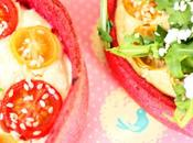 Tartelette rose, betterave, tomates cerises, roquette chèvre