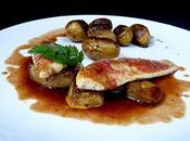 Filet rouget, foie gras, pommes grenailles sauce rouge