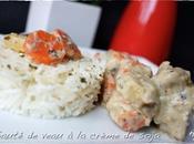 Sauté veau crème soja, herbes petits légumes (carottes, panais)