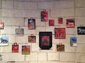 """Dessin sacs papier réhabilités, situ exposition """"Danse avec Loups"""", Halle Ronde Givry."""