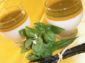 panna cotta vanillée -purée mangues caramel basilic