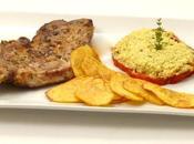 Cote porc marinee, tomate crumble parmesan, frites maison