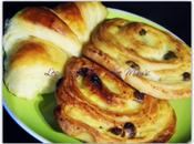 Viennoiseries croissants, pains chocolat raisins