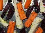 Légumes-racines (carotte, betterave, panais) rôtis four