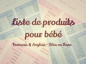 Préparer l'arrivée bébé: Liste modifiable produits nécessaires, français anglais