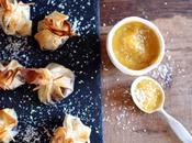 Petites aumonières choco-coco purée mangue banane