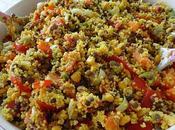 Salade complète lentilles, semoule épices carottes