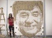 portrait Jackie Chan fabriqué avec 64000 baguettes chinoises