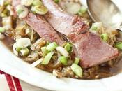 Jambon grillé chou chinois sirop d'érable poivre fumé