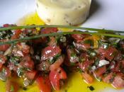 Filet truite saumonée, sauce vierge purée pommes terre olives
