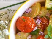 Salade pommes terre, tomates cerises rôties aromates Sauce citronnée