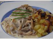 Escalopes veau creme, pommes terre sautees, champignons