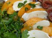 Salade melon~mozzarella, roquette figues
