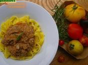 Tagliatelles sauce tomate, aubergines romarin