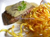 Steak roquefort frites bouclettes
