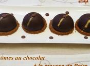 Dômes chocolat mousse poire croquant spéculos