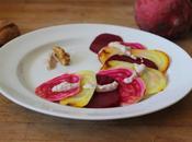 Carpaccio bettteraves multicolore, sauce crémeuse noix (Noël 100% durable