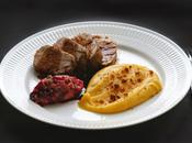 Filet mignon porc, compote pommes cranberry purée patates douces