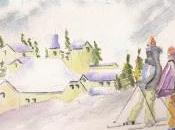 Skieurs Alpes l'aquarelle