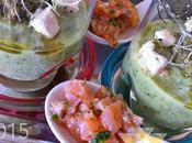 Verrines courgettes cuillères saumon