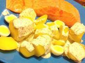 Saumon mariné citron vert, oeufs caille sauce herbes
