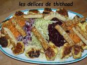 salade arc-en-ciel légumes râpés croquettes feta